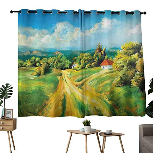 NUOMANAN Blackout Curtains Rustic,Barren Path to Small Village Plenty of Plants and Trees Oil Painting Image,Green Yellow Blue,Light Blocking Drapes with Liner 52