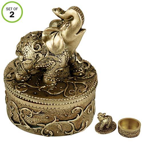 Evelots Jewelry Trinket Box-Elephant-Wedding Ring-Hand Painted-Keepsake-Set/2