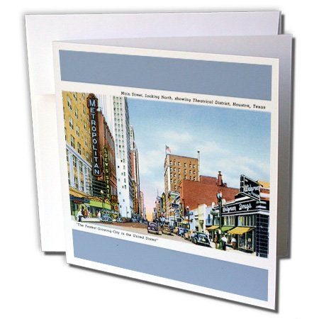 (3dRose Houston, Texas Scene with Vintage Cars Greeting Cards, 6