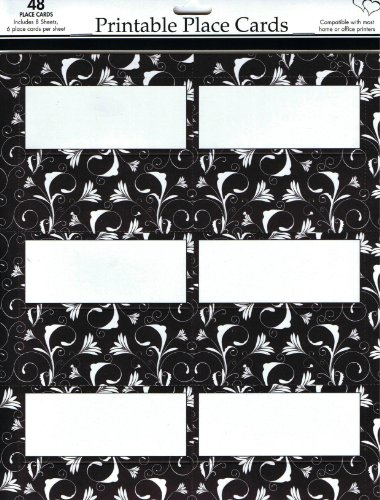 Celebration Black and White Place Cards, 3.75 x 1.5-Inches, 48 Cards per Pack (1601) (Black And White Wedding Programs compare prices)