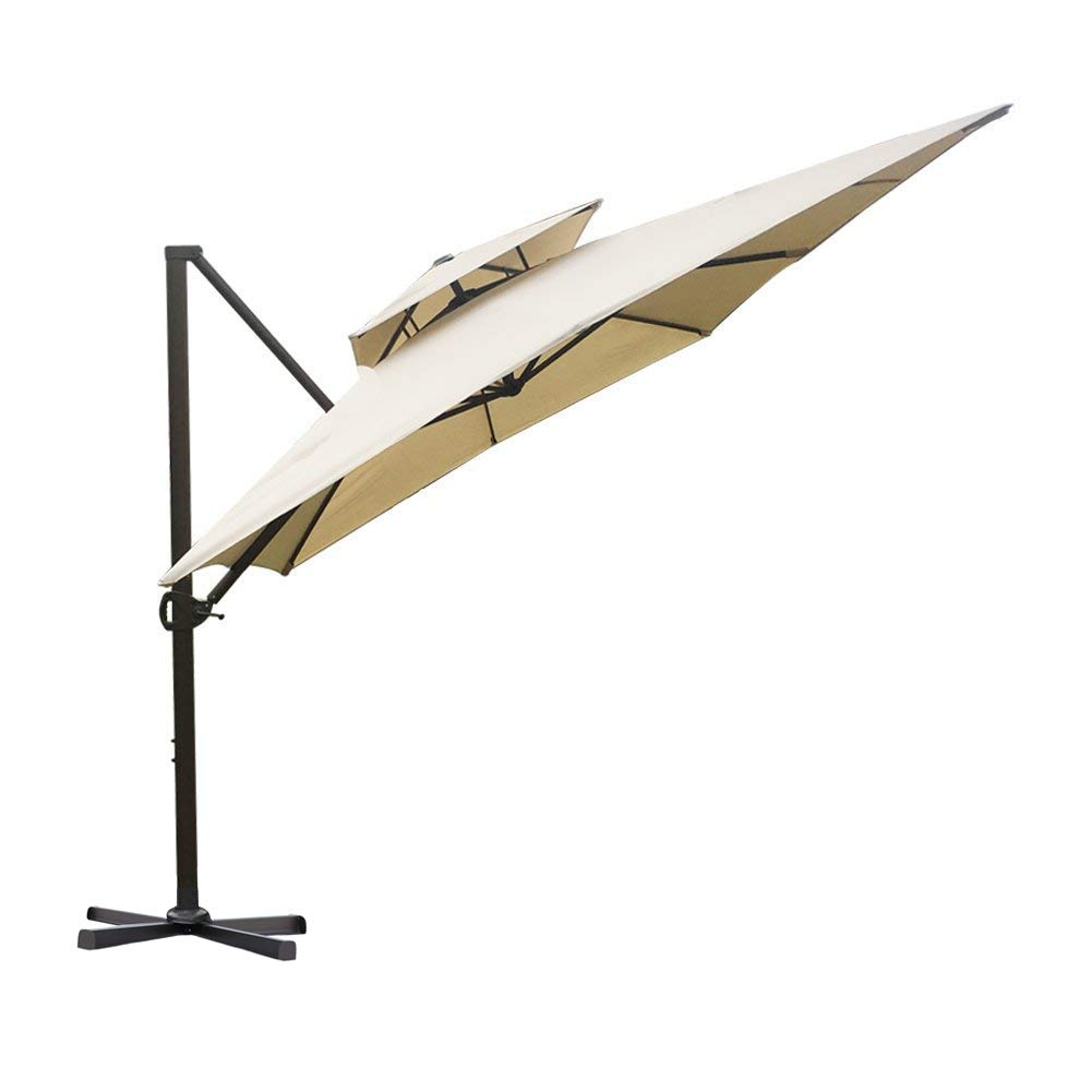 Abba Patio 9 by 12-Feet Rectangular Offset Cantilever Dual Wind Vent Patio Hanging Umbrella with Cross Base, Beige