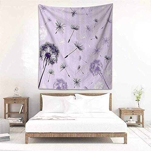 Godves Tapestry Hippie Dandelion Colorful Flying in The Wind Flowers Thistle Botanical Prints Home Accent and Woven Bedspread Yoga Mat Blanket 40