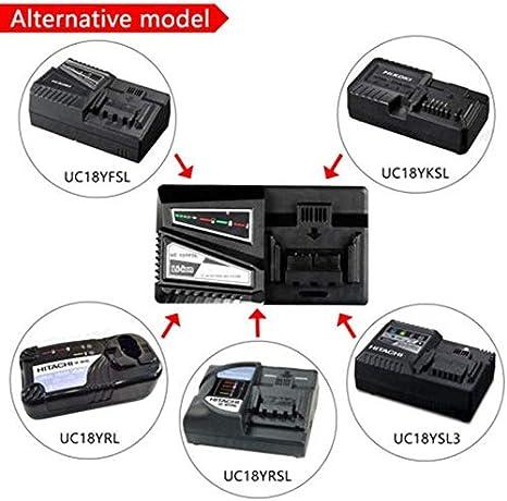 Noir Goloth Chargeur Batterie Remplace pour Hitachi UC18YKSL 14.4V pour 18V Rapide LI-ION Chargeur Batterie Free size