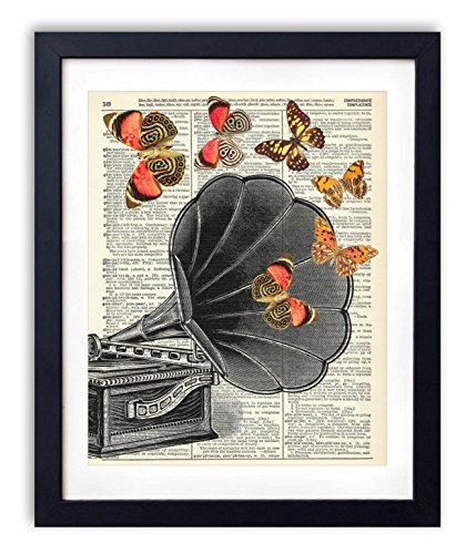 Vintage Record Player With Butterflies Upcycled Vintage Dictionary Art Print 8x10 by Vintage Book Art Co.