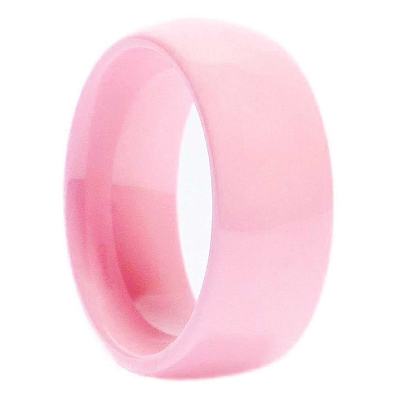 Pink Ceramic Wedding Ring Classic High Polished Band 8mm | Amazon.com