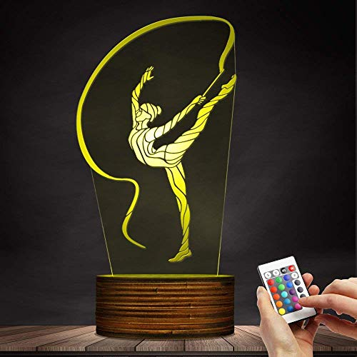 Novelty Lamp, 3D Led Lamp Rhythmic Gymnastics Night Light Optical Illusion Remote Control 15 Colors with USB Charging Interior Lighting Children's Birthday Present New Year and Anniversary,Ambient Li by LIX-XYD (Image #2)