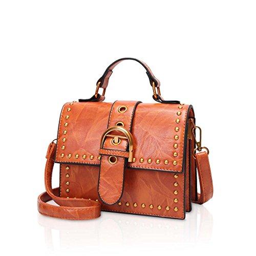 NICOLE & DORIS Bolsos de hombro pequeños Mochila de cuero de la PU Mochila Vintage bolsos para mujeres con correa ajustable Rojo Brown B