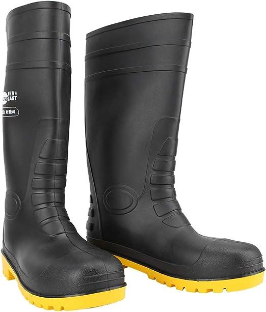 Liukouu Botas de Trabajo, Material de PVC Botas de Lluvia Antideslizantes Impermeables para Hombre Zapatos de jardín para Obra, Hospital, fábrica(39): Amazon.es: Jardín