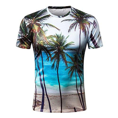 (Short Sleeve Men's Casual T-Shirts 3D Coconut Palms Print Women's Hawaii Landscape Tee)