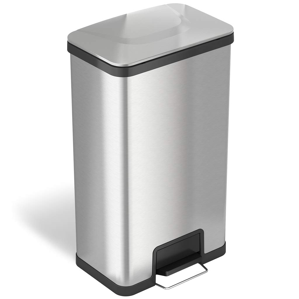iTouchless 18 Gallon SoftStep Stainless Steel Step Trash Can with Odor Control System 68 Liter Bathroom, Kitchen, Office, Home Garbage Bin, Silver 18 Gal