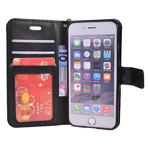 iPhone 6 Plus/ 6s Plus (5.5 inches) Funda,COOLKE Retro PU Leather Wallet With Card Pouch Stand de protección Funda Carcasa Cuero Tapa Case Cover para Apple iPhone 6 Plus/ 6s Plus (5.5 inches) - Rosa Negro