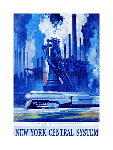 AD NEW YORK CENTRAL SYSTEM TRAIN INDUSTRIAL PAINTING FRAME PRINT PICTURE (New York Central System)