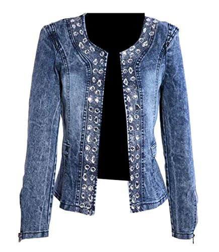 f96130cacda GRMO Women Stretch Vintage Glitter Sequins Slim Denim Trucker Jacket Coat