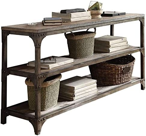 BOWERY HILL Contemporary Style 60 Console Table in Weathered Oak and Antique Silver