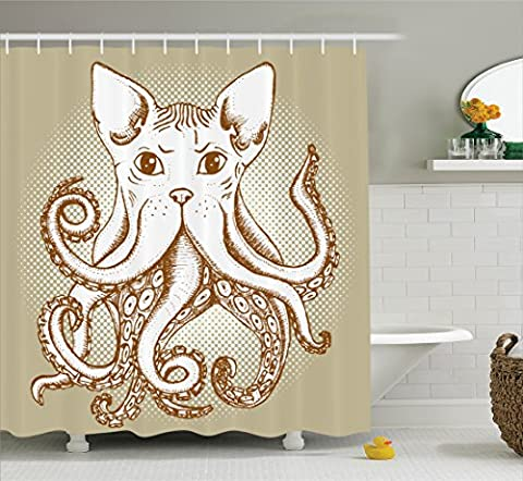 Ambesonne Octopus Decor Collection, Octopus with Cat Head Illustration Vintage Style Cartoon Cat with Tentacles Home Decor, Polyester Fabric Bathroom Shower Curtain, 75 Inches Long, Grey (Octopus Bathtub)