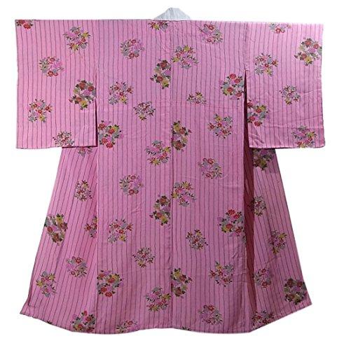 アンティーク 着物 襦袢 袖無双 縞に四季の花々 裄62cm 身丈125cm 正絹