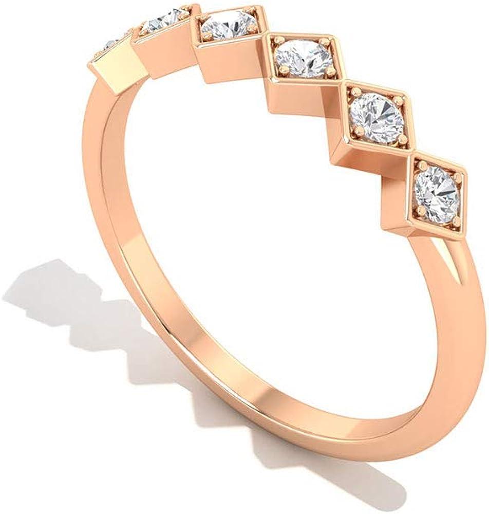 Anillo de compromiso con diamante certificado SGL, forma cuadrada vintage, para mujer, Zig Zag, oro, para damas de honor, IJ-SI, claridad de color, 18K Oro rosa, Size:EU 51