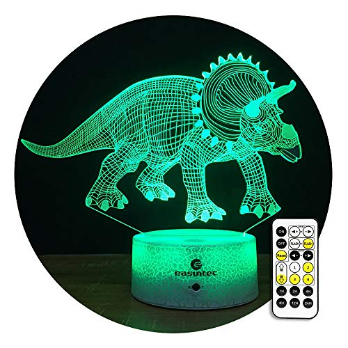 ght Light 3D Night Light 7 Colors Change with Timer Remote Dinosaur Toys for Boys (Triceratops1) ()