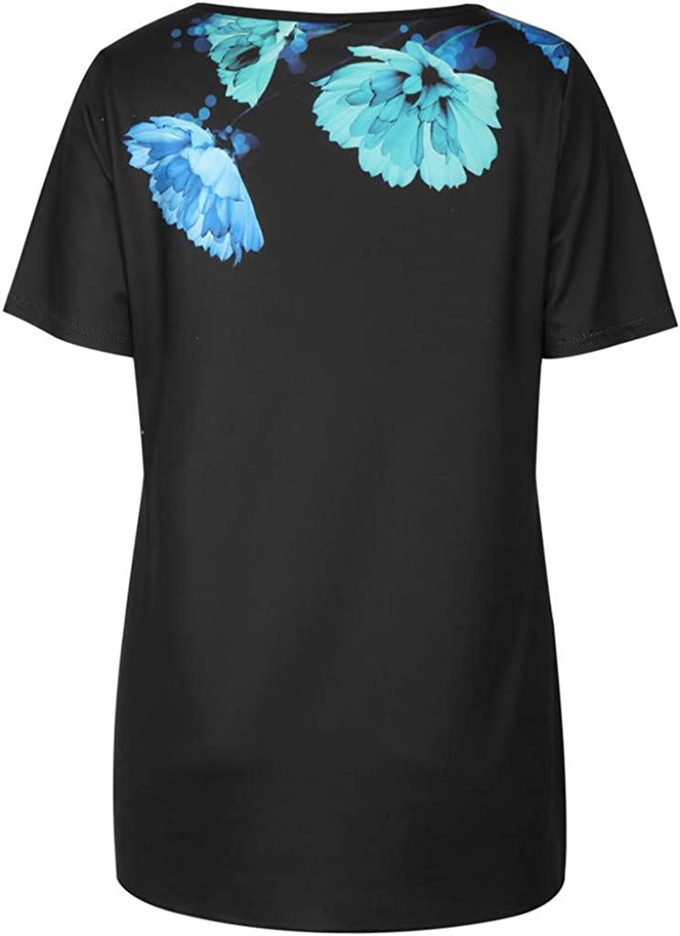 Teresamoon Womens O Neck Tank Tops Short Sleeve Shirts Print Loose Long Tunic Tees