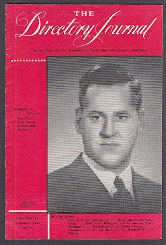 City Directory Journal Summer 1954 Robert W Lovell ++
