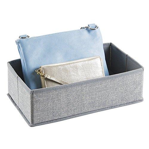 mDesign Aufbewahrungsbox aus Stoff für Schrank oder Kommodenschubladen, für Unterwäsche, Socken, BHs, Strumpfhosen, Leggings - Grau