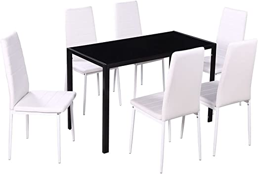 7 Pieces Dining Set Glass Table 6 Leather Chairs Kitchen Dining Room Furniture