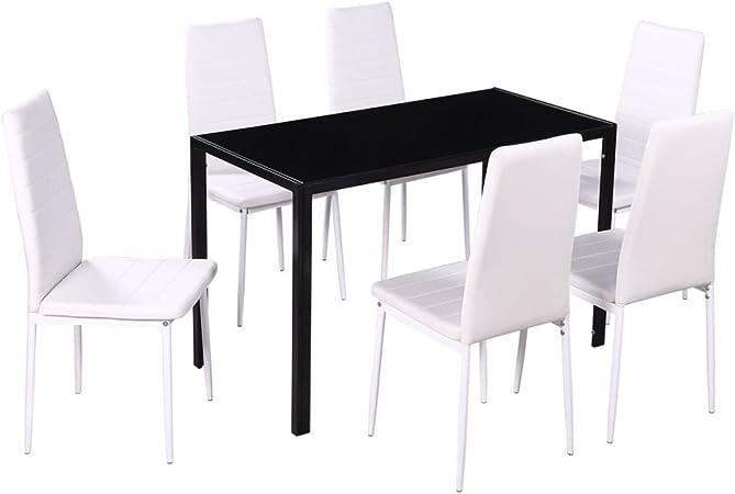 vidaXL Set da Pranzo Cucina Sala 5 pz in Metallo Nero e Bianco Tavolo e Sedie