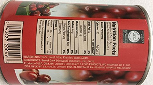 Lieber's Dark Sweet Pitted Cherries 15 Oz. Pack Of 6.