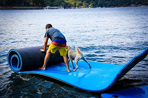 NEW MILLENNIUM PRODUCTS Made in USA Water MAT/Floating RAFT for Pool/Lake/Ocean/River (Black/Blue, 1.9