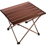 Trekology Portable Camping Side Tables with Aluminum Table Top: Hard-Topped Folding Table in a Bag for Picnic, Camp, Beach, Boat, Useful for Dining & Cooking with Burner, Easy to Clean (Brown, Small)