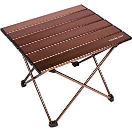 Trekology Portable Camping Side Tables with Aluminum Table Top: Hard-Topped Folding Table in a Bag for Picnic, Camp…