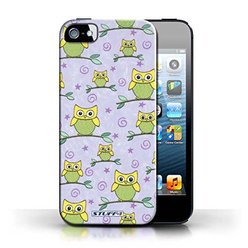 iCHOOSE Print Motif Coque de protection Case / Plastique manchon de telephone Coque pour Apple iPhone 5/5S / Collection Motif Hibou / Jaune/Violet
