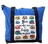 Lunarable Camper Shoulder Bag, You Make Me Happy Quote, Durable with Zipper