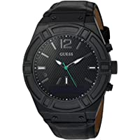 Men's CONNECT Smartwatch with Amazon Alexa and Genuine Leather Strap Buckle - iOS and Android Compatible - Black