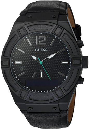 GUESS Men's CONNECT Smartwatch with Amazon Alexa and Genuine Leather Strap Buckle - iOS and Android Compatible -  Black by GUESS