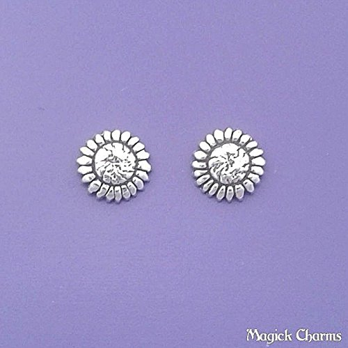 (Sterling Silver Sunflower Flower Earrings Post Stud Jewelry Making Supply Pendant Bracelet DIY Crafting by Wholesale)