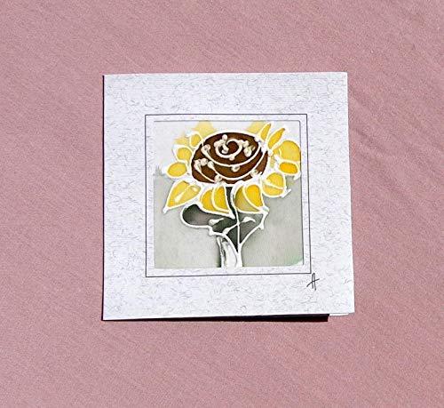 Sunflower card,Paintings on Silk-Batik,Personalised Sunflower Card,Sunflower Mother's Day Card,Spring Flower Card,Sunflower Gift,Card Garden.