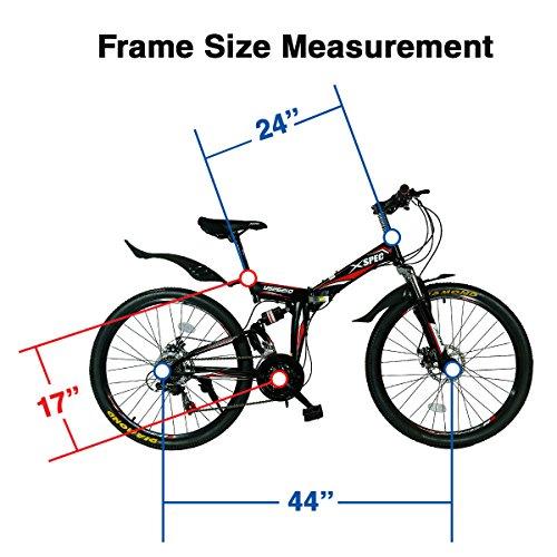 Best Xspec 26″ 21 Speed Folding Mountain Bike Bicycle Trail Commuter Shimano Black (online)