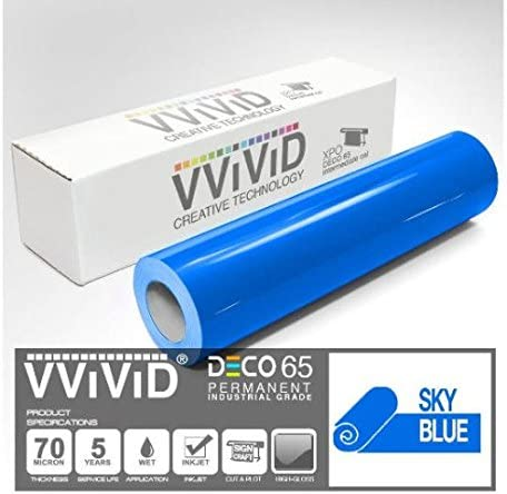 7ft Silhouette /& Cameo VViViD Sky Blue Gloss DECO65 Permanent Adhesive Craft Vinyl for Cricut 12 Inch x 84 Inch