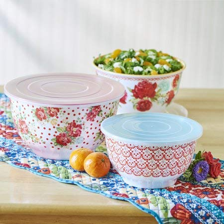 (Pioneer Woman Melamine Serving Bowl Set with Lids (Set of 3 Bowls with 3 Lids) (Vintage Floral))