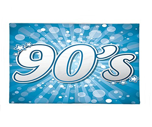 [Interestlee Fleece Throw Blanket 90s Decorations 90s Letter and Stars on Striped Background With Circles Party Celebration Themed Art Blue] (Easy 90s Themed Costumes)