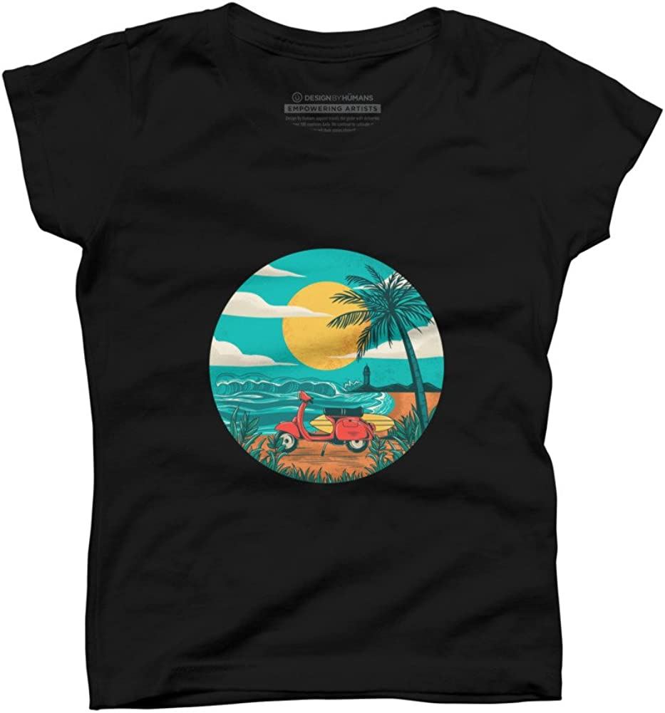 Design By Humans The beach Girls Youth Graphic T Shirt