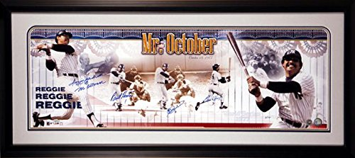 Reggie Jackson New York Yankees - 3 Pitchers from 1977 World Series - Framed Autographed Panoramic with