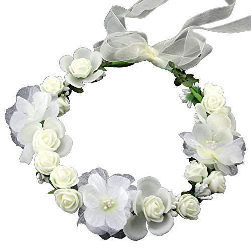 Go Girl Hippie (SIZSNM Flower Crown Floral Headband Headpiece Wreath Girls Womens Artificial White Silk Roses Wedding Bridal Kids Toddler Boho)