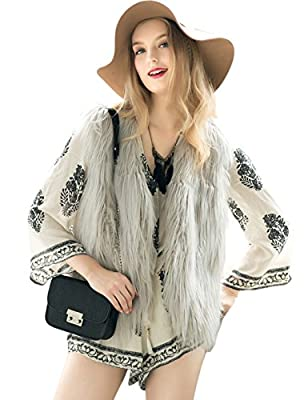 Fashion Women Faux Fur V-Neck One Hook Short Vest Waistcoat