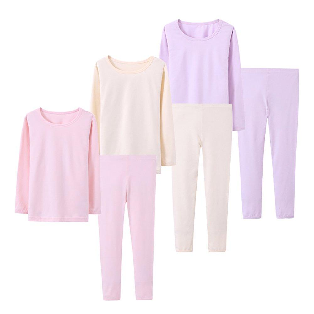 Abalacoco Big Girls Boys 3 Sets (6pcs) Cotton Longs sleeve Undershirts Autumn Winter Thermal Underwear Pants Suit 4-12T (Pink/Purpe/Beige,6-7 Years) by Abalacoco
