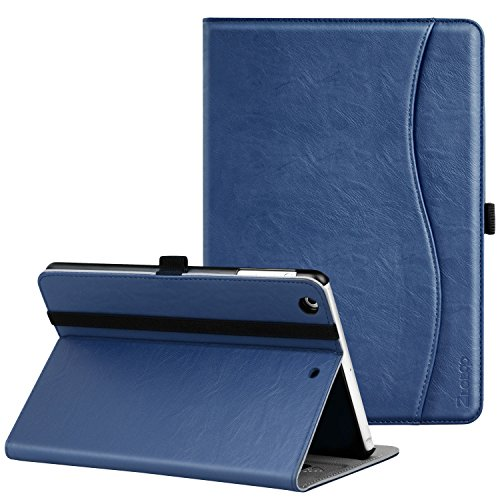 Ztotop iPad Mini 1/2/3 Case, Premium Leather Folio Stand Protective Case Smart Cover with Multi-Angle Viewing, Pocket, Functional Elastic Strap for iPad Mini 3/Mini 2/Mini 1 - Navy Blue