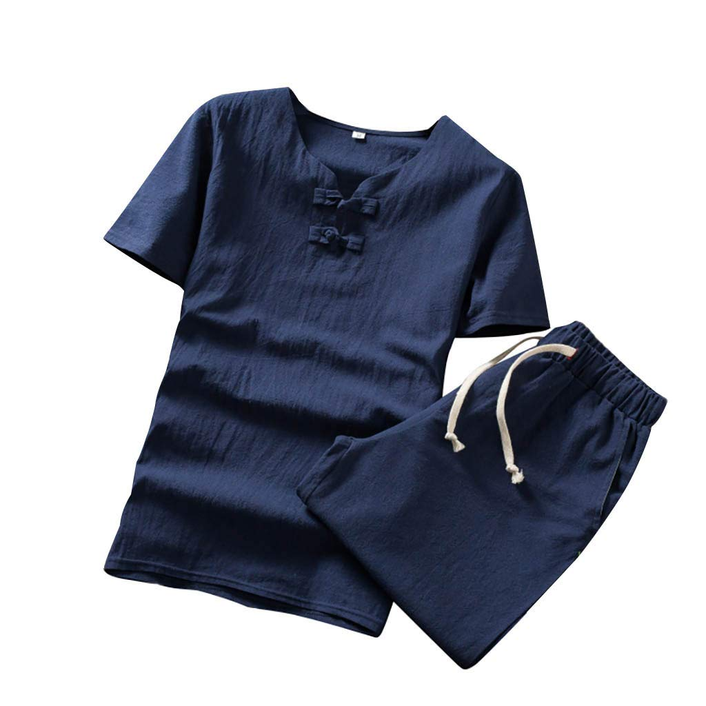 Men Linen 2 Piece Shirt and Short Set Summer Cotton Linen Frog Button Crewneck Beach Sweatshirt (4XL, Navy)