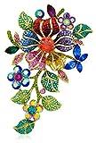Akianna Gold Tone Swarovski Element 4-Inch Flowers Brooch Pin Pendant