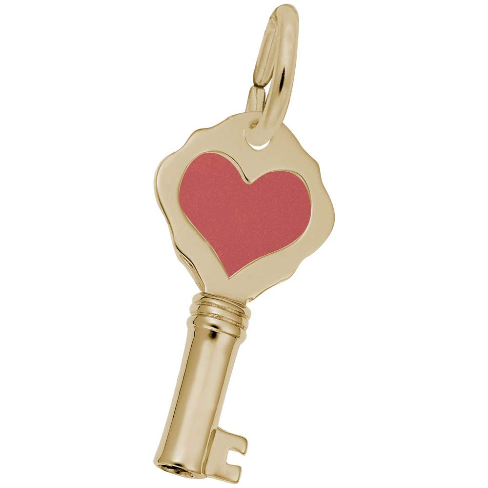 Rembrandt Charms Plain Red Heart Key Charm